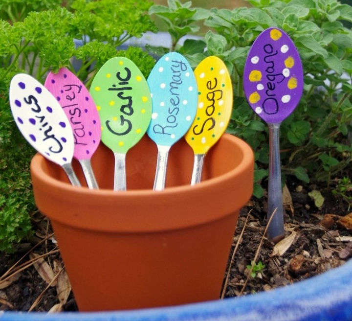 14 DIY Gardening Tips & Projects - Upcycle old spoons to make colorful garden markers.
