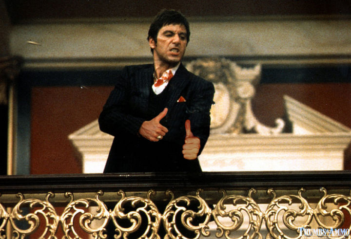 23 Movie Action Scenes Where Guns Were Replaced with a Thumbs-Up - 'Scarface'