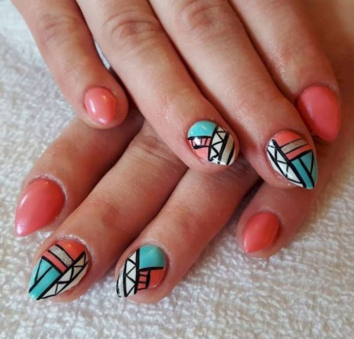 18 Spring Nails - Spring nail art design with unique Aztec pattern accents.