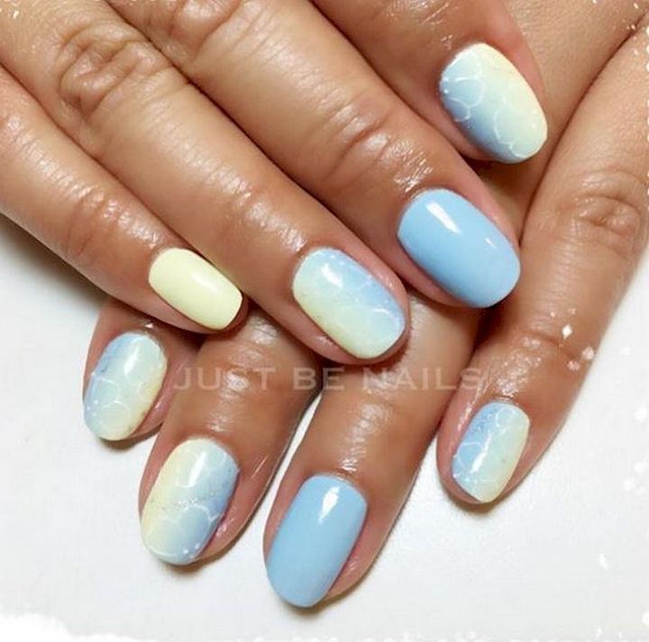 18 Spring Nails - Ocean blue and yellow pastels.
