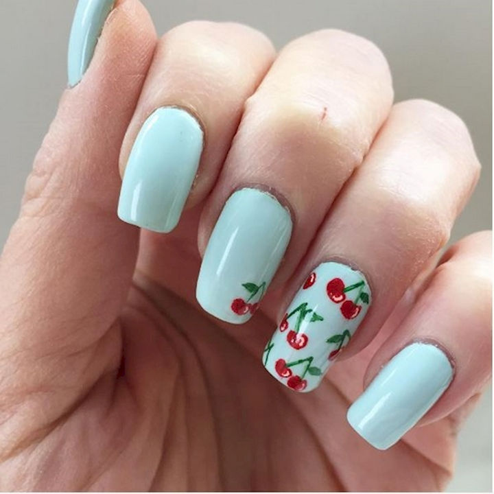 17 Fruit Nails - Cherries look great on baby blue nails.
