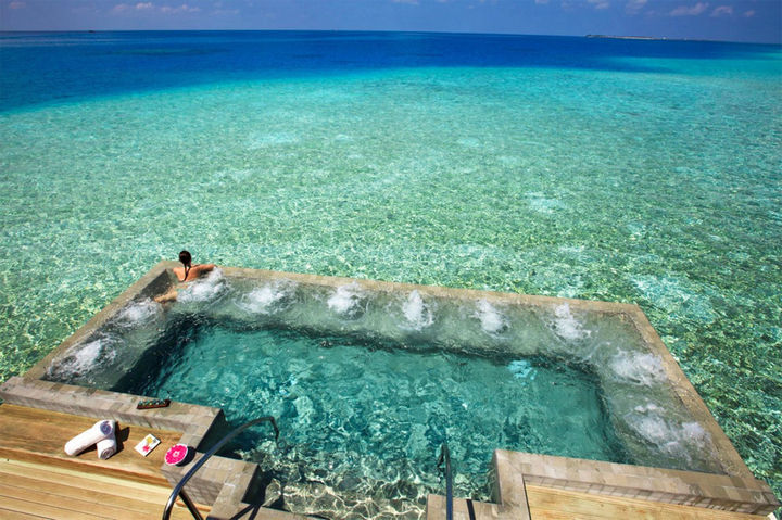 35 Epic Swimming Pools From Around the World - Velassaru Resort in the Maldives.