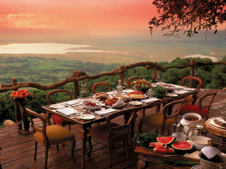 39 Amazing Restaurants With a View - Crater Lodge in Ngorongoro Conservation Area, Tanzania.