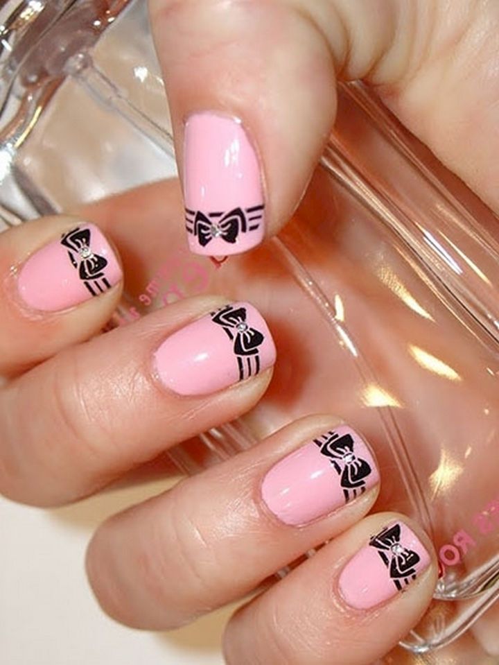 17 Bow Nail Art Designs - Clean and stylish pink nails with bow accents.