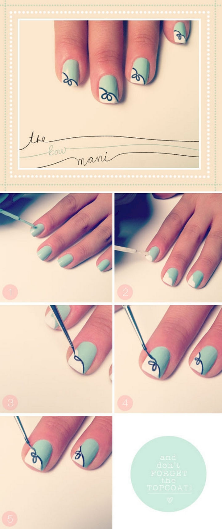 17 Bow Nail Art Designs - Create a pretty mint mani and tie it up with a bow.