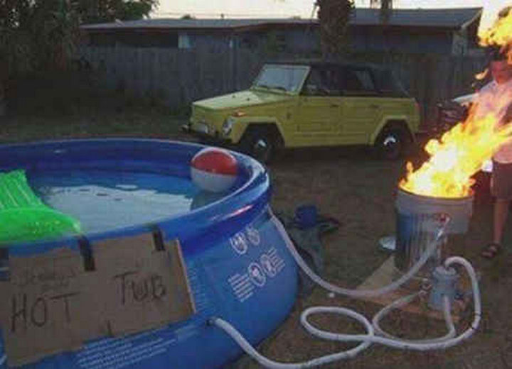 18 Funny Life Hacks - Turn your swimming pool into a DIY hot tub.