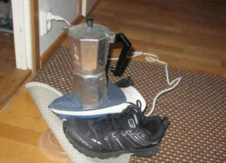 18 Funny Life Hacks - No hot plate? Use a clothes iron to make that next cup of espresso.