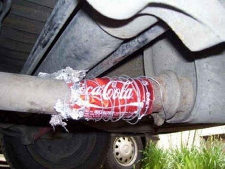 18 Funny Life Hacks - I hope that car repair is temporary!