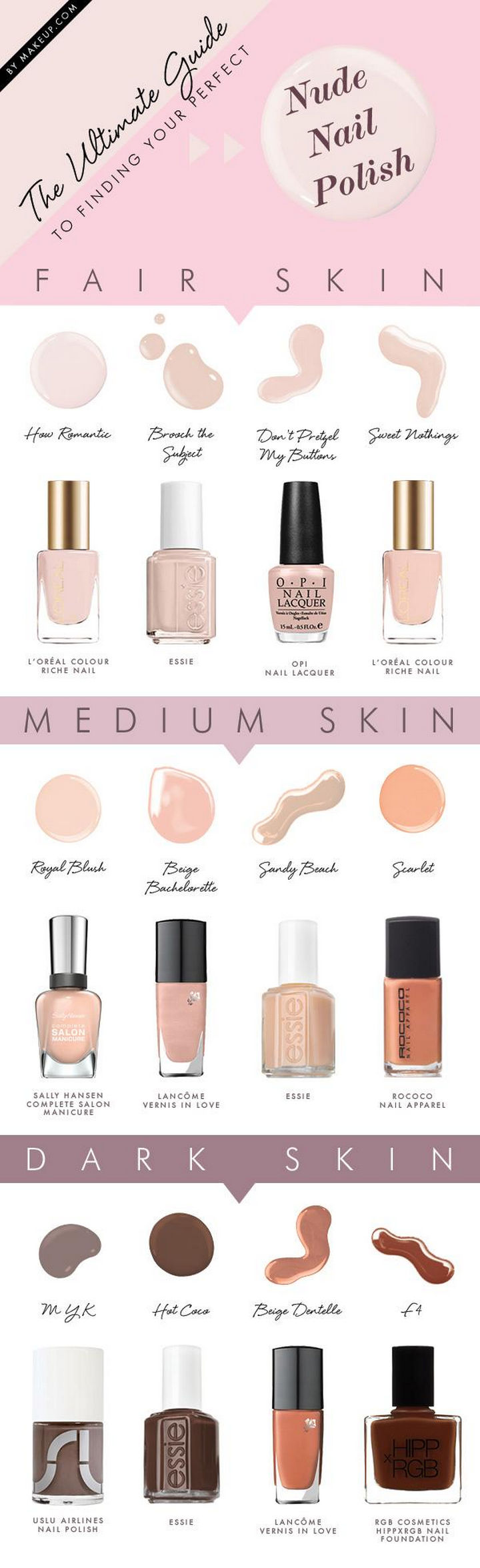 22 Kickass Life Hacks for Girls - Find the perfect nude nail polish shade for your skin tone.