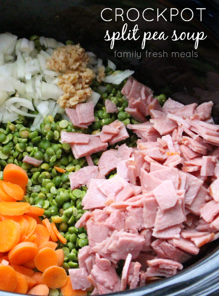 26 Crock Pot Dump Meals - Crockpot split pea soup.