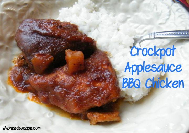 26 Crock Pot Dump Meals - Crockpot applesauce BBQ chicken