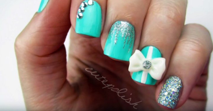 How To Create Tiffany Blue Diamond Nails Wedding Manicure.