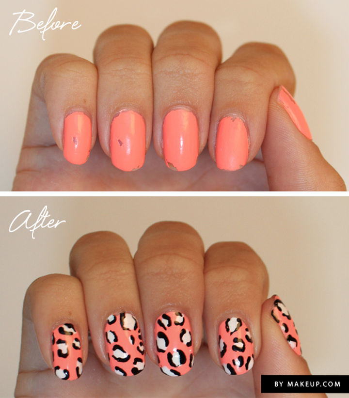 13 Quick and Easy Ways to Save a Chipped Manicure - Revive your manicure with an animal print to cover up those chips.