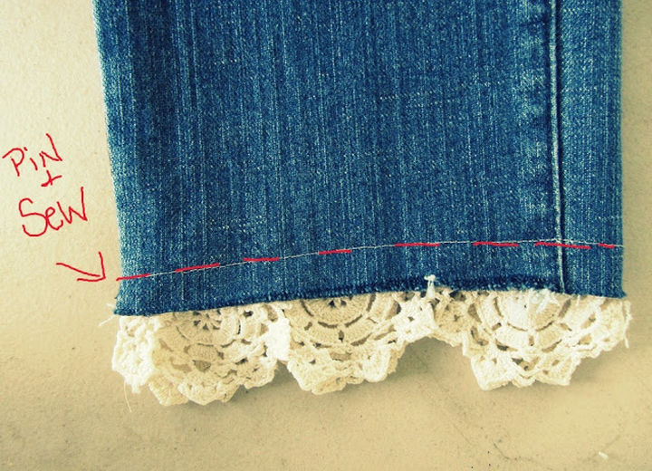 17 Brilliant Clothing Hacks - Add a cute lace cuff to your worn out jeans.