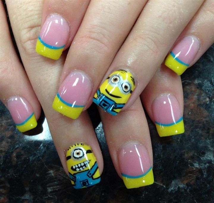 19 Minion Nails - Cute minion nail art design.
