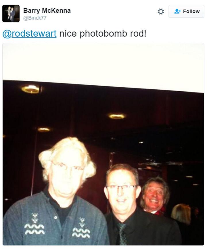 30 Happy Pictures - Rod Stewart photobomb.
