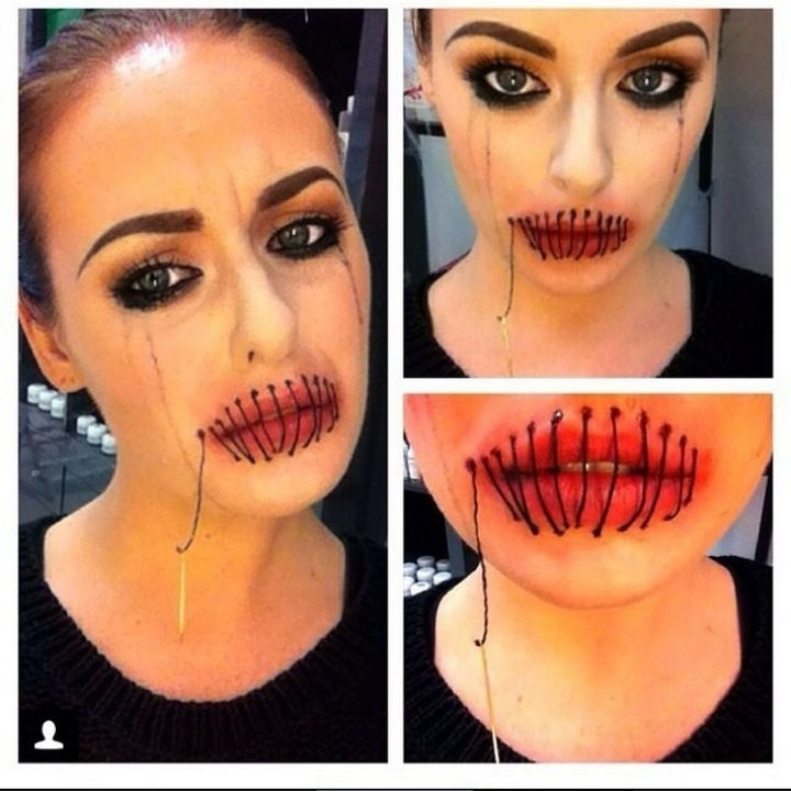 37 Scary Face Halloween Makeup Ideas - Sewn lips.