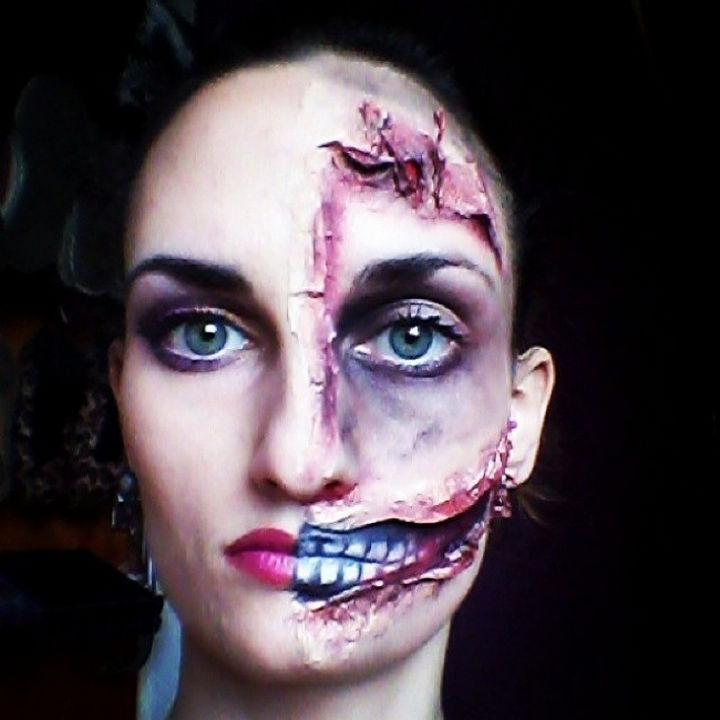 37 Scary Face Halloween Makeup Ideas - Half and half face.