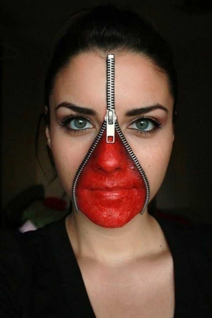 37 Scary Face Halloween Makeup Ideas - Unzipped face.