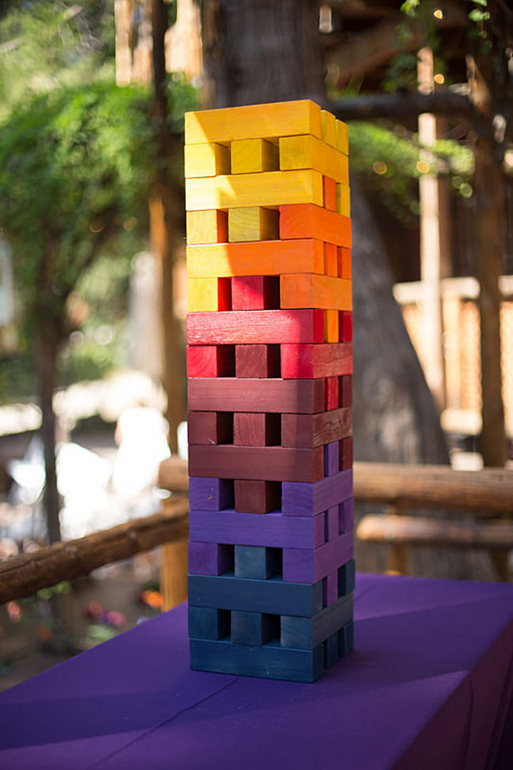 """Even the Jenga set has been painted using a """"sunset"""" color palette."""