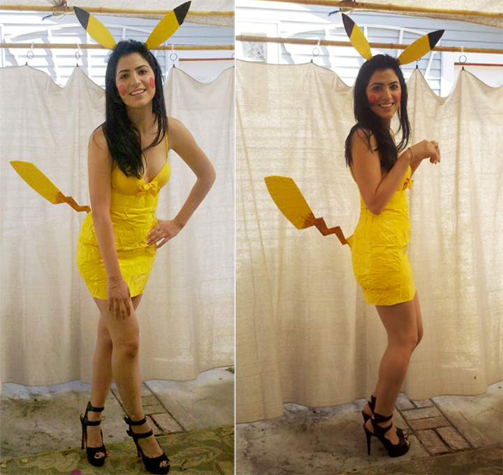 20 Pokémon Costumes for Halloween - Girls Pikachu costume made with duct tape!