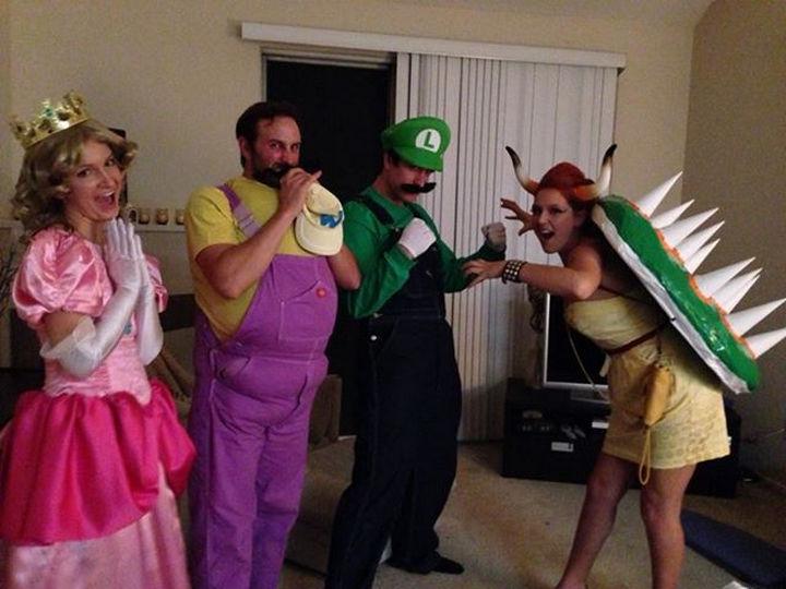 23 Super Mario and Luigi Costumes - Halloween family fun as Luigi, Wario, Bowser and Princess Peach.