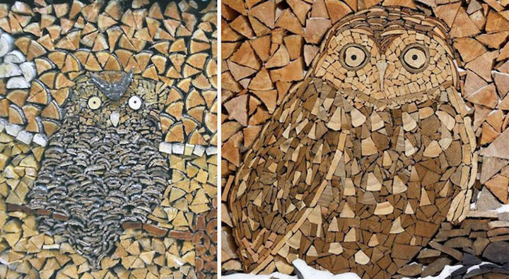 A couple of owls hiding in a stack of wood.