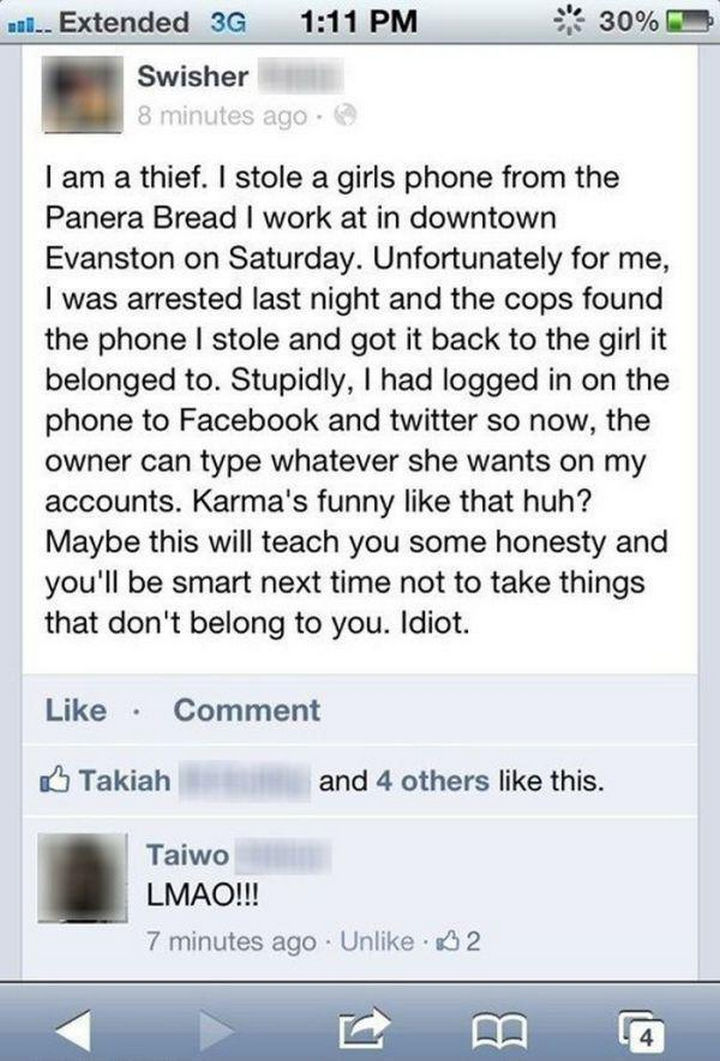 19 Funny Karma Images - It never pays to steal.