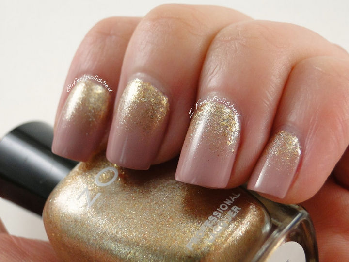 Striking gold gradient created with a makeup sponge.