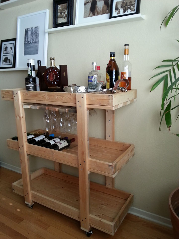 18 DIY Bars and Bar Carts - DIY bar cart made from scrap wood.