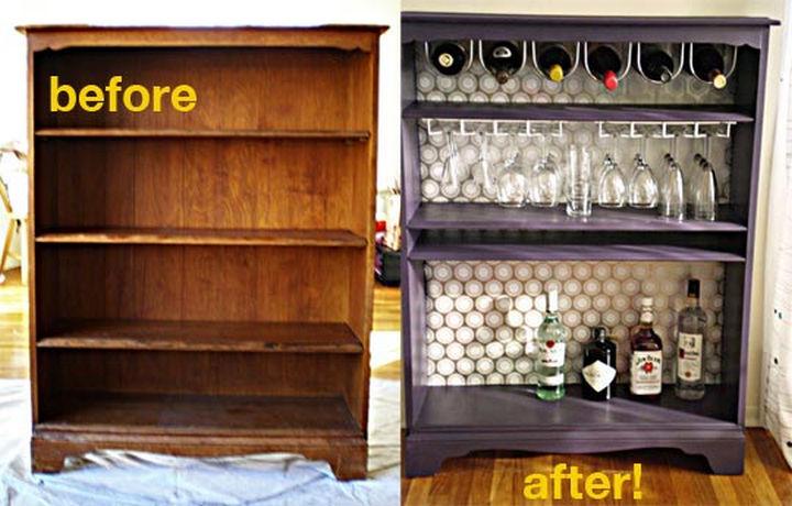 18 DIY Bars and Bar Carts - Bookshelf bar.