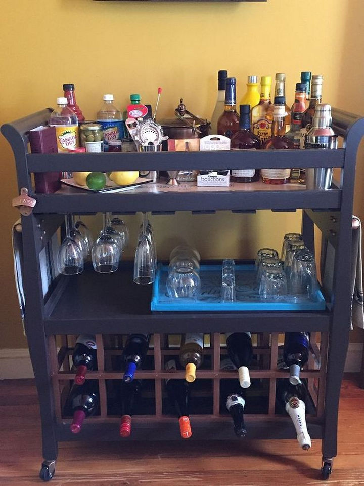 Upcycle a baby changing table into a bar cart.