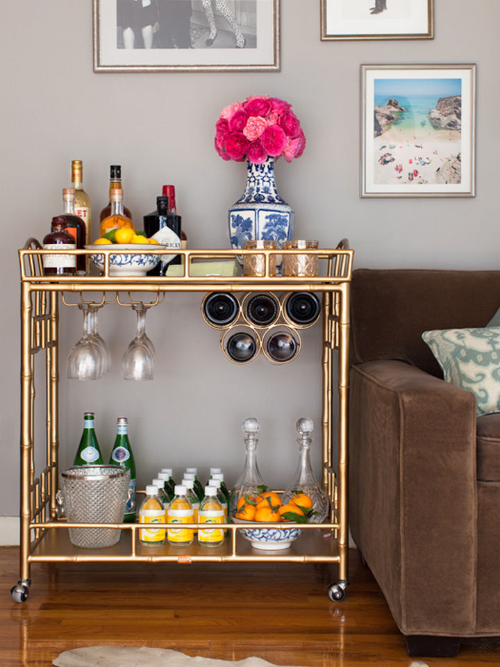 Glitzy bar cart.