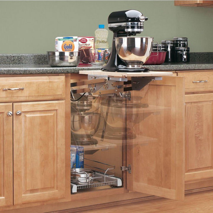 18 DIY Storage Ideas For Your Home - Install a heavy duty appliance lift to save countertop space.