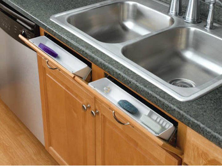 18 DIY Storage Ideas For Your Home - Use the space in front of your sink by installing tip-out trays.