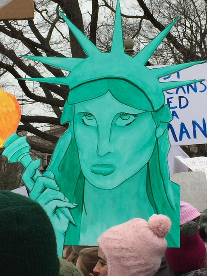 20 Epic Women's March Signs - Lady Liberty's face says it all.