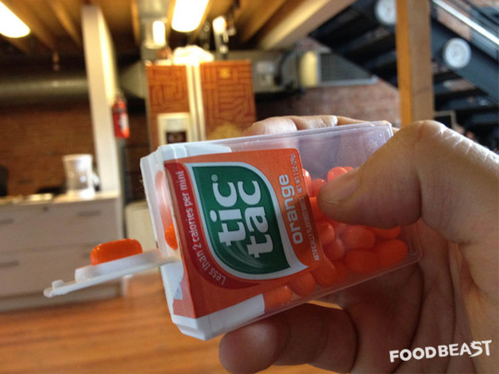 Tic Tac containers have a built-in dispenser in the lid.