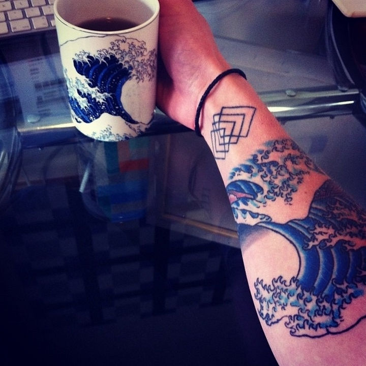"22 Classical Art Tattoos - ""The Great Wave off Kanagawa"" by Hokusai."