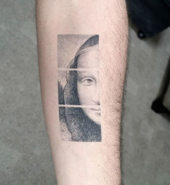 "22 Classical Art Tattoos - ""Mona Lisa"" by Leonardo da Vinci"
