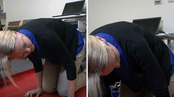 Benign Paroxysmal Positional Vertigo Treatment - Very quickly raise your head and try to keep your head level with your back.