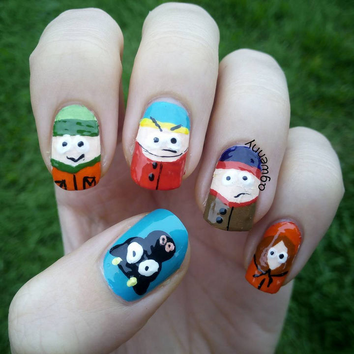 19 Cartoon Nail Art Designs - South Park nails to proclaim your love for this long running series.