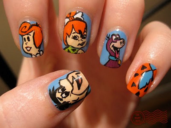 19 Cartoon Nail Art Designs - The Flintstones still are my favorite modern stone age family and these Flintstones nails are especially cute.