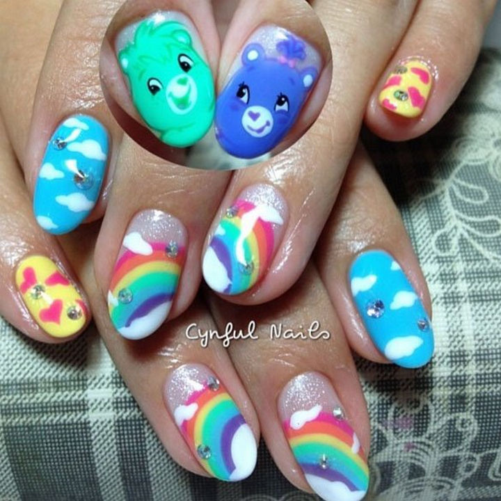 19 Cartoon Nail Art Designs - Nothing makes you feel warm and fuzzy like Care Bears and rainbows!