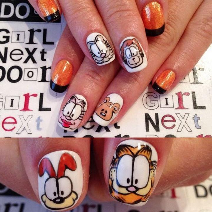 19 Cartoon Nail Art Designs - Garfield and friends looks so cute in these Garfield nails.