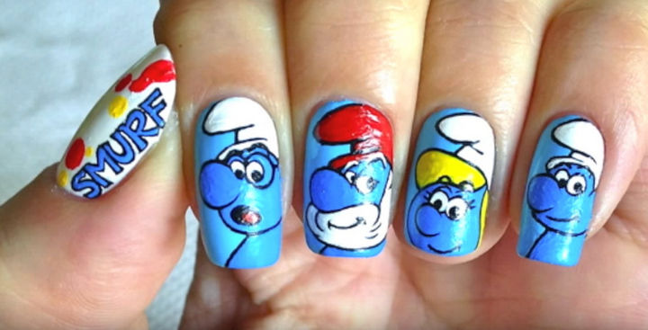 19 Cartoon Nail Art Designs - You'll be feeling smurfy with these nails inspired by The Smurfs!
