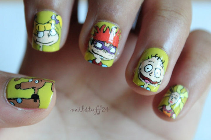19 Cartoon Nails - Celebrate Tommy Pickles and the entire gang with Rugrats nails!