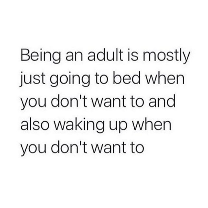 "23 Funny Adult Quotes - ""Being an adult is mostly just going to bed when you don't want to and also waking up when you don't want to."""