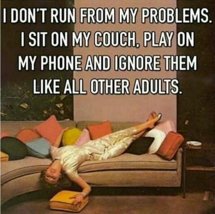 """23 Funny Adult Quotes - """"I don't run from my problems. I sit on my couch, play on my phone and ignore them like all other adults."""""""