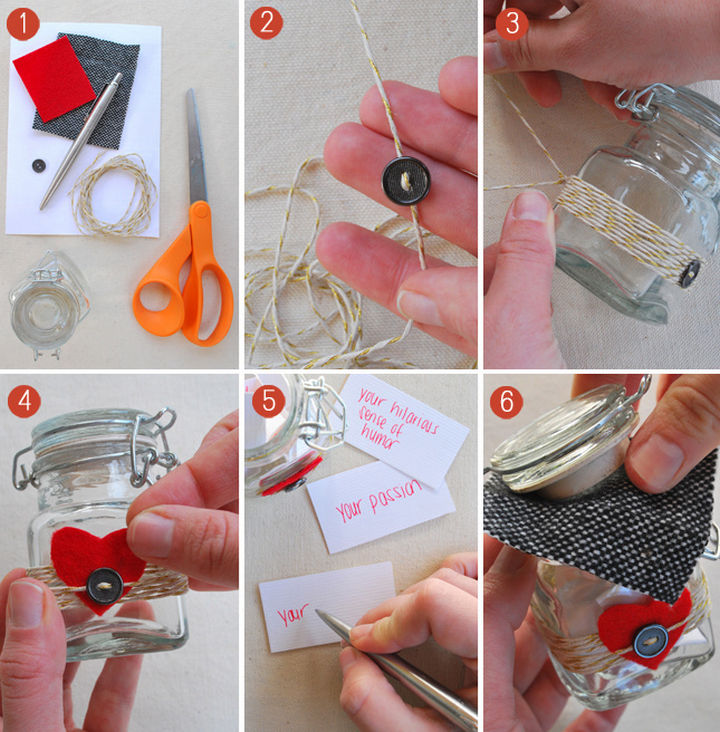 27 DIY Valentine's Day Crafts - Give your loved onea jar filled with 10 things you love about them.
