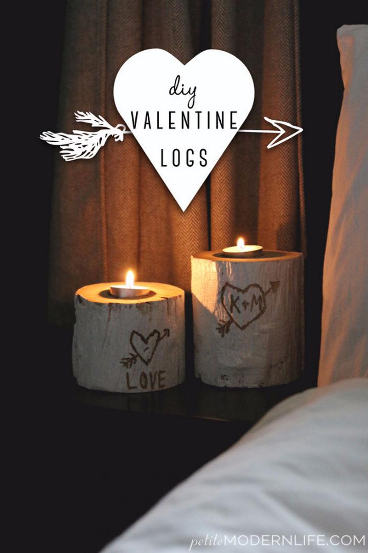 27 DIY Valentine's Day Crafts - Make DIY Valentine logs.